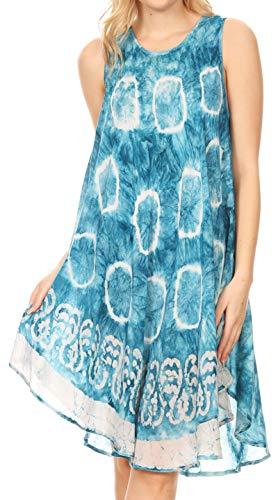 Sakkas 18151 - Marlena Swing Sleeveless Tie Dye mit Batik Nightgown Dress Cover - Blau - OS - Junioren Tie Dye