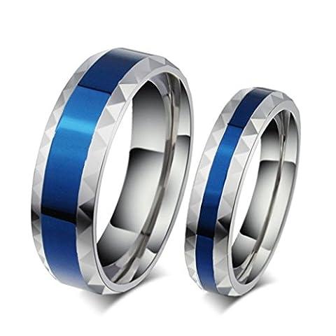 Beydodo Stainless Steel Rings (Wedding-bands) For Women Promise Wedding CZ Width 4MM Size J 1/2 Blue