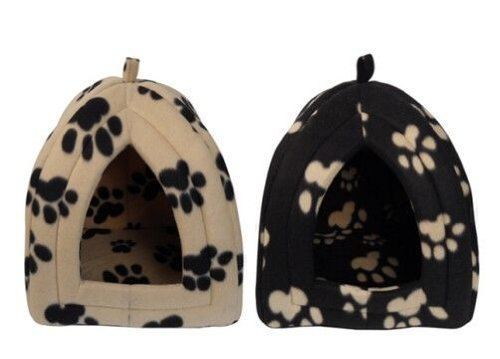 igloo-pet-bed-for-cats-or-toy-breed-dogs-caramel-with-black-paw-prints