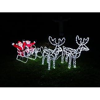 XXL-672-LED-Magic-DOPPEL-RentierSchlittenWEIHNACHTSMANN-8-Programme-ca-2-Meter-lang-70-cm-hoch-Premium-Set2-Rentiere2-Schlitten2-Weihnachtsmnner-kaltweissIP44ELCHNEUHEIT-2019