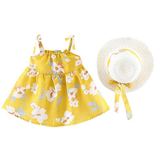 Alwayswin Infant Baby Mädchen Ärmellose Prinzessin Kleid Blumendruck Sling Kleid + Hut Cap Outfits Weste Strand Sommerkleid Süß Wild Mode Party Kleid Lose Bequem A-Linien Kleid