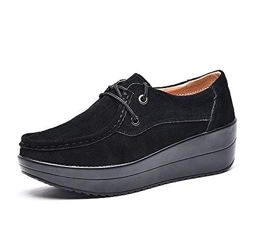 lovejin Mujer Mocasines Plataforma Flat Casual Cuña Zapatos Cuero Loafer Adelgazantes al Aire Libre Zapatillas