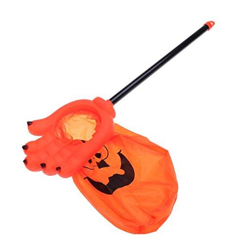 er Saures-Beutel Halloween Candy Bag Long Handle Ghost Hand für Kinder (Orange) ()