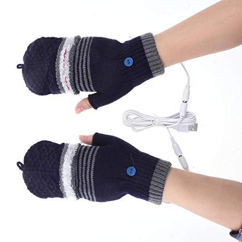 Nicololfle Gants Chauds d'hiver de Chauffage USB Laine à Tricoter Gants Chauds pour Femmes Filles chauffées sans Doigts Chauffant mitaine Ordinateur Portable Gants