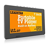 LEADSTAR 7 Inch Portable Small Digital DVB-T2 DVB-T TFT HD Screen Freeview LED TV for Car,Caravan,Camping,Outdoor or Kitchen.Built-in Battery Television/Monitor with Multimedia Player Support USB card