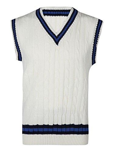 Missmister Mens Boys Gents Knitted Classic Cricket Jumper SLEEVELESS For Sports Casual tank top VEE NECK (Small, Cream)