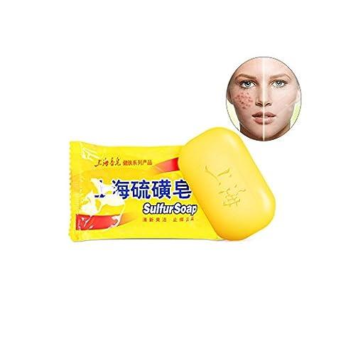 GoodPing Savon de soufre de Shanghai,Anti Acne,Psoriasis,Eczema,Fungus,Bath Healthy Soap 85g (jaune citron)