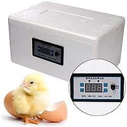 AZWE Incubadora semiautomática digital, 20 huevos Controlador de temperatura para incubadoras de aves de corral para pollos, patos, gansos, codornices, loros, palomas, pájaros