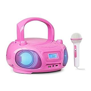 auna Roadie Sing • CD-MP3 Karaoke Player • Stereoanlage • Boombox • Sing-A-Long Funktion • USB-Port • UKW Radio • Bluetooth 3.0 • LED-Beleuchtung • Netz- und Batterie-Betrieb • Mikrofon • pink