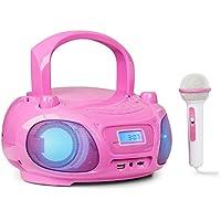 auna Roadie Sing - Radio CD, Impianto stereo, Boombox, CD, USB, MP3, Sintonizzatore Radio FM, Bluetooth 3.0, Illuminazione a LED, Batteria o alimentazione, Funzione Sing-A-Long, Rosa