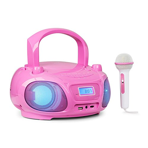 auna Roadie Sing • CD-Radio • Stereoanlage • Boombox • CD-Player • USB-Port • MP3 • FM-Radiotuner • Bluetooth 3.0 • LED-Beleuchtung • Netz- und Batterie-Betrieb • Sing-A-Long Funktion • pink
