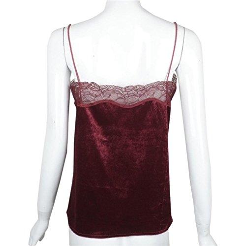 Amlaiworld Gilet donna,Canottiere di velluto camicia reggiseno bustier vino rosso