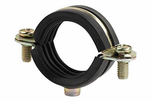 Index Fixing Systems LSAB6I015 Rohrschelle mit Schallschutzeinlage AB-6I | für Stahlrohr, Kupferrohr und PVC-Rohr, M6-Aufnahme | , galvanisch gelb verzinkt, Durchmesser: 15mm, 10 Stück