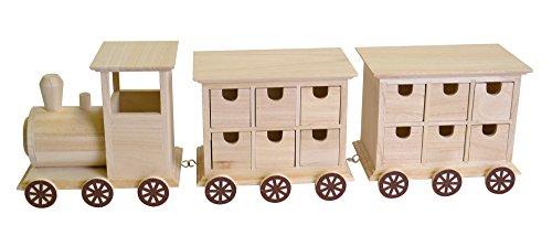 Artemio 14002090 Calendrier de l'Avent en Bois à décorer Train-58cm x 15cm x 11.5cm, 58 x 11,5 x 15 cm