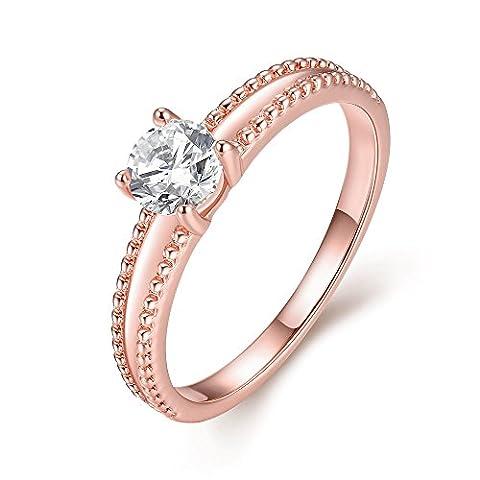 Amour Eternel Bague Femme 18K Or Plaqué Zircon Cubique Diamant Bague de Fiançailles Bague d