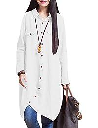 7524ba418afeb Romacci Women Cotton Long Blouse Irregular Hem Buttons Loose Casual Vintage  Top Shirt Dress White Purple Dark Blue…