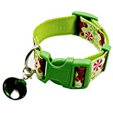 Junyee Einstellbare Hundehalsbänder, Weihnachten Weihnachtsdekoration Halsband für Hund Welpen Kätzchen (Hellgrün , L