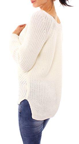 Fragolamoda Damen Grobstrick Pullover Gerippt Lochmuster One Size Creme