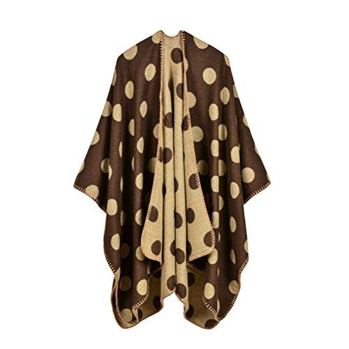 Donna Poncho Cape Knitted Autunno Inverno Caldo Eleganti Vintage Di Polka Dots Pattern Moda Casual Mantelle Scialle Shawl Cardigan Cappotto Top Gialli