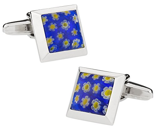 Price comparison product image Blue Millefiore Venetian Glass Square Silver Cufflinks with Presentation Box