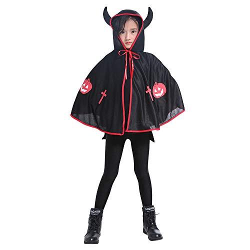 Riou Kinder Langarm Halloween Kostüm Top Set Baby Kleidung Set Kinder Erwachsene Kinder Halloween Baby Kostüm Ochsenhorn Umhang Cape Robe (Freie Größe, Schwarz)