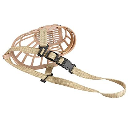 TOOGOO(R) Plastic Basket Adjustable Dog Muzzle Mask Cage Mouth Mesh (Size 5) 4