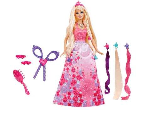 Barbie Mattel BCP41 Zauber-Haarspiel Prinzessin, Puppe mit 3 Haarverlängerungen und viel Zubehör