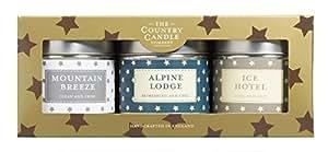 Country Bougie Superstars ENCHANTED FOREST- Coffret cadeau 3 bougies en métal Motif Breeze Alpine Mountain Lodge, Ice Hotel 3 bougie pour le prix de 2