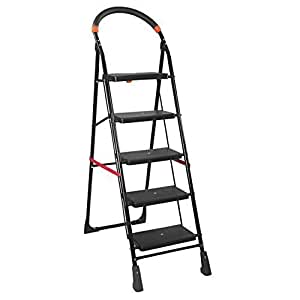 Parasnath Black Heavy Folding Ladder With Wide Steps Milano 5 Steps 4.7 Ft Ladder (Made In India)