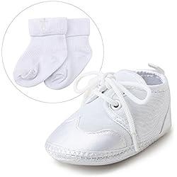 Delebao Blanco zapatos de bebe bautismo Zapatos primeros pasos para bebé niño zapatos de suela suave zapatillas baby 9-12 Meses