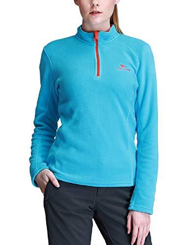 Camel Damen Fleece 1/4 Reißverschluss Fleecejacke Pullover Langärmlig Ski Shirt Sweatshirt für Damen (S, Blau)