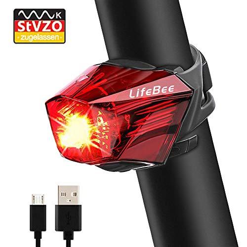 LIFEBEE Fahrrad Rücklicht LED Fahrradlicht, StVZO Zugelassen USB Wiederaufladbare Super Hell MTB Fahrradlampe mit USB Kabel, IPX4 Wasserdicht für Radfahren, Wandern, Laufen, Camping (K1112)