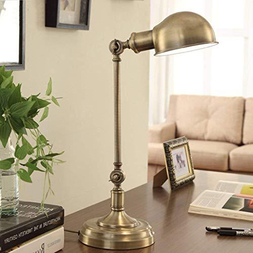 CLLCR Haushalts-Tischlampe, Nachttischlampe, Persönlichkeit einfache amerikanische kreative Schreibtischlampe Retro-All-Kupfer-Lampen Büro-Schreibtischlampe kann eingestellt Werden, Nachtlicht lesend