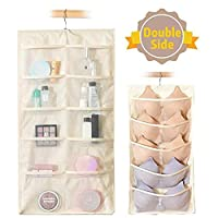 Dyna-Living Hanging Storage Organiser, Oxford Cloth Dual Sided Wall Shelf Wardrobe Storage Bags, Mesh Pockets & 360° Rotating Metal Hanger for Underwear, Jewelry Gadget and Sock