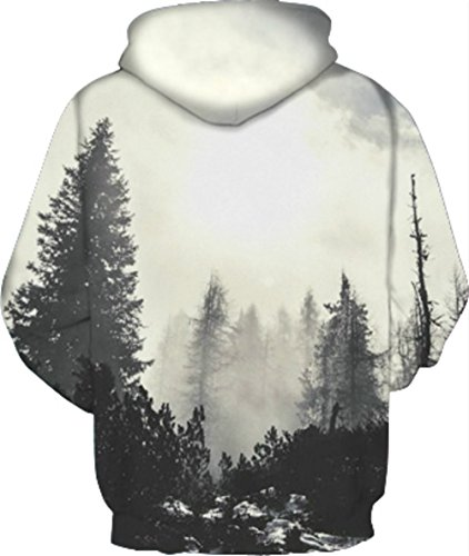 Herren Digitaldruck Kapuzenpullover Tops Fashion Hoodie Pullover Hooded Sweatshirt Wald