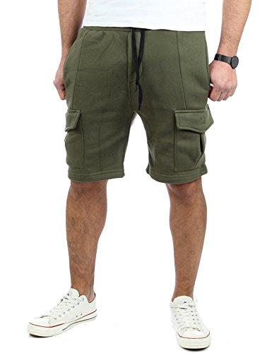 Reslad Kurze Hose Herren Cargo Bermuda Shorts Jogginghose Sport-Hose RS-5069 Khaki M (Bermuda Short Khaki)