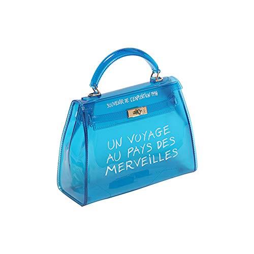cineman Damenhandtaschen Neue Koreanische Version All-Matched Candy Farbe Gelee Paket Transparente Tasche Mode Handtasche Umhängetasche (L, Blau)