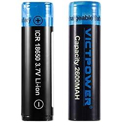 2 PCS Haute capacité 3.7 V 18650 2600 mah Batteries Rechargeables au Lithium-ION pour Lampe de Poche LED phares Lampe de Recherche Kaemma