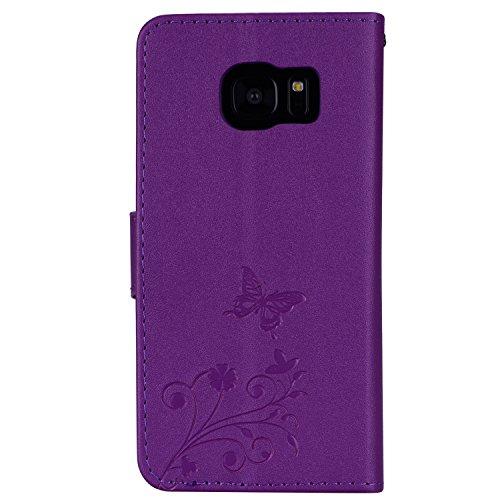 Surakey Coque Galaxy S7,Fleur de Papillon Motif Cristal Glitter Strass PU Cuir Case à rabat Coque Portefeuille Housse Flip Wallet Case Magnétique Étui pour Samsung Galaxy S7, Violet