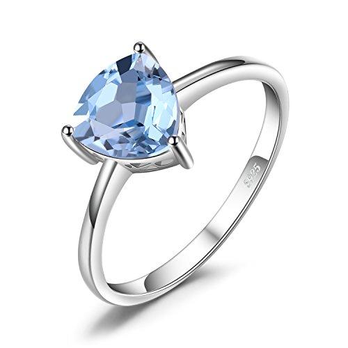 JewelryPalace 1.5ct Elégant Bague de Fiançailles Femme en Argent Sterling 925 en Topaze Bleue Ciel Taille 59.5