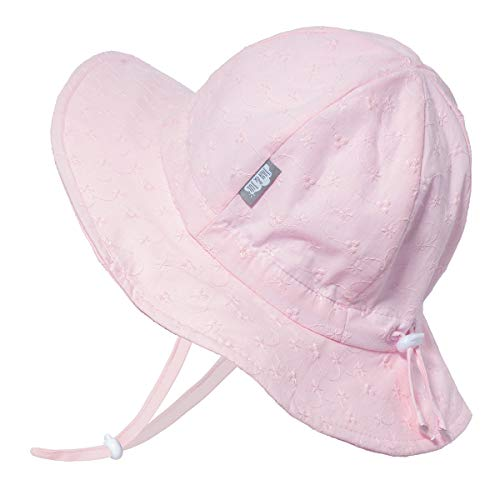 Jan & Jul UV-Schutz-Sonnenhut aus Baumwolle 50 UPF, für Mädchen, Verstellbar, mit Halteband (L: 2-5 Jahre, Gestickt)