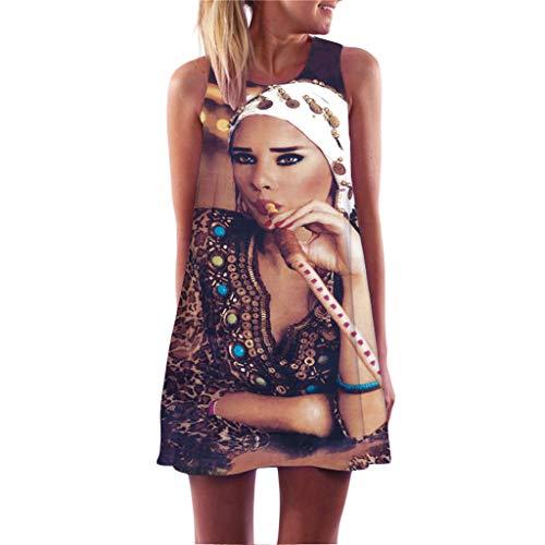 SANFASHION Bekleidung Herren SANFASHION Minikleid,2019 Damen A-Linie Sommerkleider Blumenmuster Beiläufiges Kleid Elegant Freizeitkleid Knielang Kleid (Damen Adler Bekleidung)