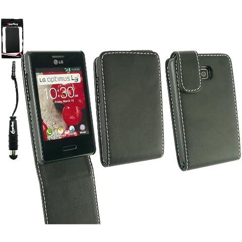 Emartbuy ® Stylus Pack Per LG Optimus L3 II E430 Premium Di Cuoio Di Caso Di Vibrazione / Copertura / Sacchetto Nero + Mini Metallic Nero Stylus + Protezione Dello Schermo Lcd