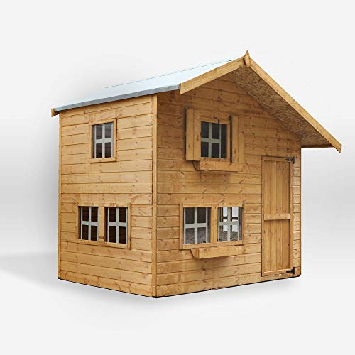WALTONS EST. 1878 8x6 Wooden Garden Two Storey Playhouse for kids. Shiplap Construction, dip treated with 10 Year Anti Rot Guarantee - Includes Apex Roof, Felt and Floor, Safety Styrene Windows (8 x 6 / 8Ft x 6Ft) 3-5 Day Delivery