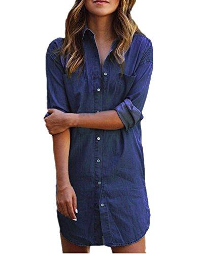 Styledome donna camicia manica lunga jeans moda shirt bluse maglia casual elegante basic blu scuro it 46