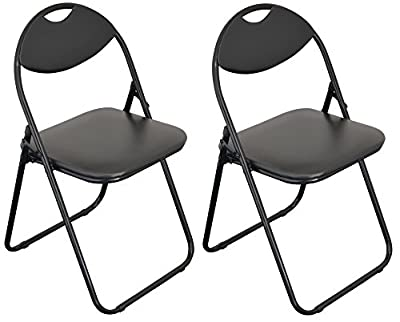 Harbour Housewares Black Padded, Folding, Desk Chair / Black Frame - Pack of 2 produced by Harbour Housewares - quick delivery from UK.