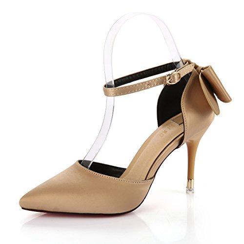 Lady mode superficiel fait bow high heels/un bouton avec une chaussure mince au printemps et en été C