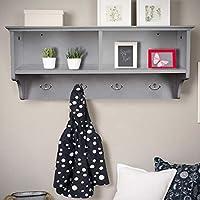 Home Source White Coat Hook Wall Mounted Hallway Unit 2 Open Shelves, Wooden, (W) 60cm (D) 20cm (H) 27cm