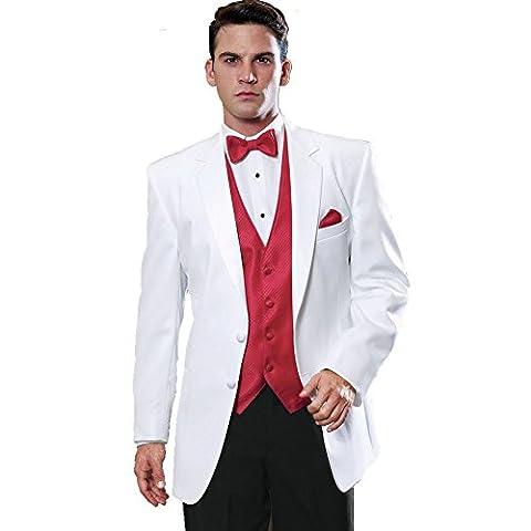 MYS Men's Custom Made Bridegroom Wedding Tuxedo Suit Pants Vest Tie Set White Troy Size 40R