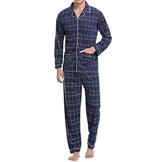 Aibrou Herren Baumwolle Pyjama Set, Winter Warm Langarm Zweiteiliger Schlafanzug Karierte Nachtwäsche Blau L